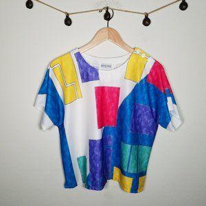 Vintage 80's Multicolor Colorblock Crop Blouse 1X